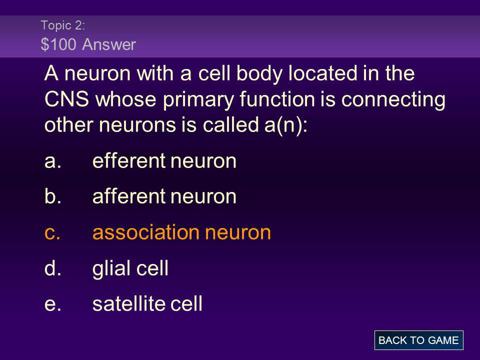 Topic 2: $100 Answer A neuron with a cell body located in the CNS whose primary function is connecting other neurons is called a(n):