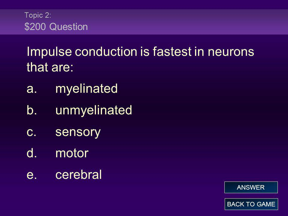 Impulse conduction is fastest in neurons that are: a. myelinated
