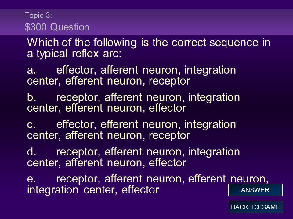 Topic 3: $300 Question Which of the following is the correct sequence in a typical reflex arc: