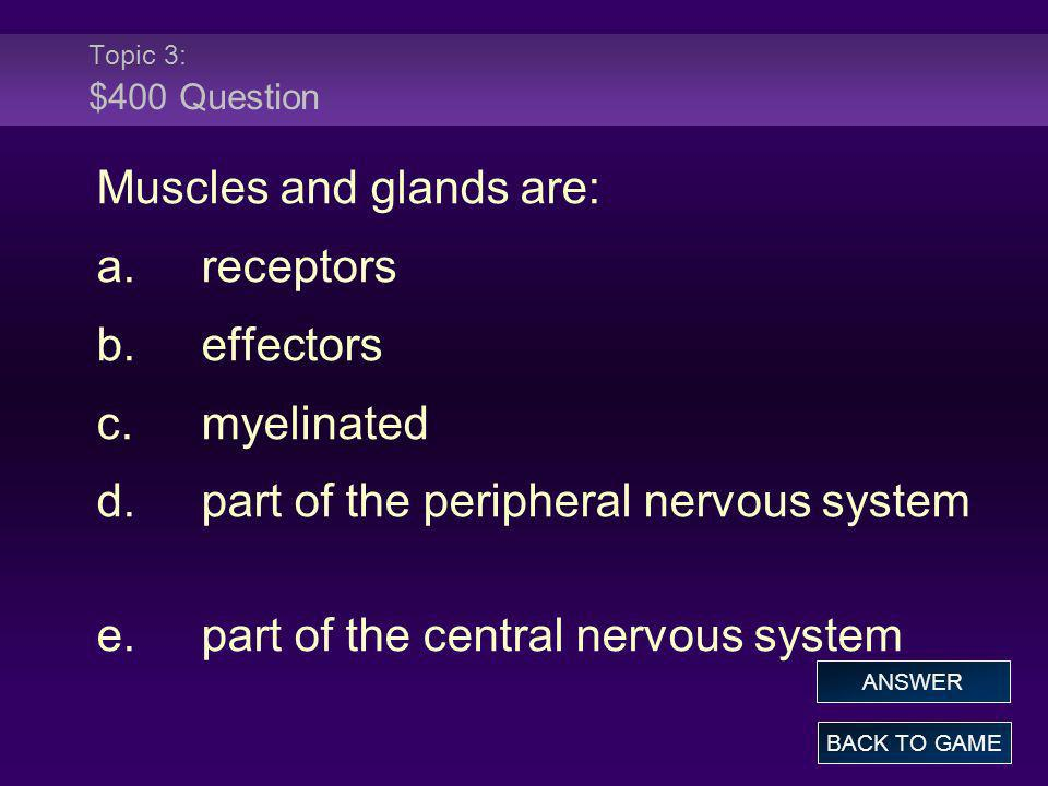 Muscles and glands are: a. receptors b. effectors c. myelinated
