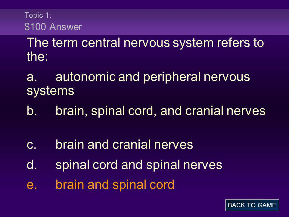 The term central nervous system refers to the:
