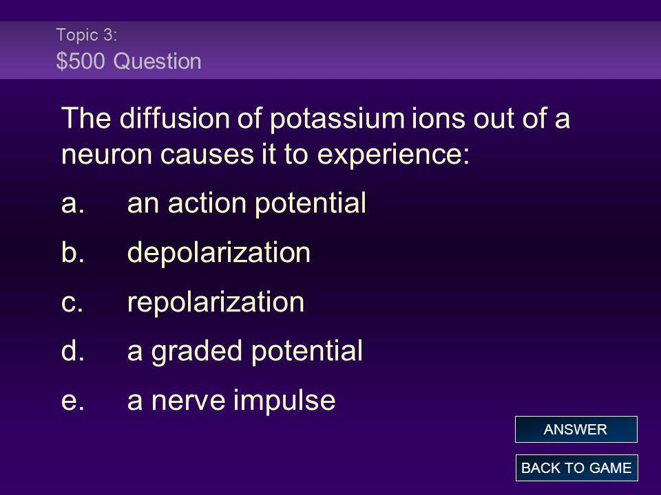 Topic 3: $500 Question The diffusion of potassium ions out of a neuron causes it to experience: a. an action potential.