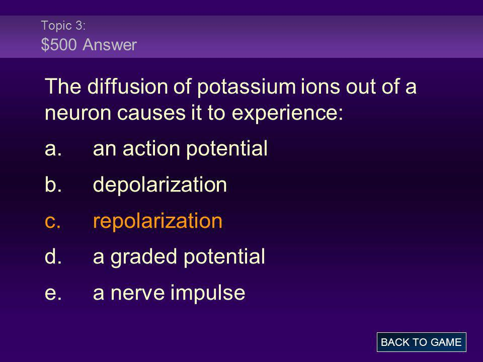 Topic 3: $500 Answer The diffusion of potassium ions out of a neuron causes it to experience: a. an action potential.