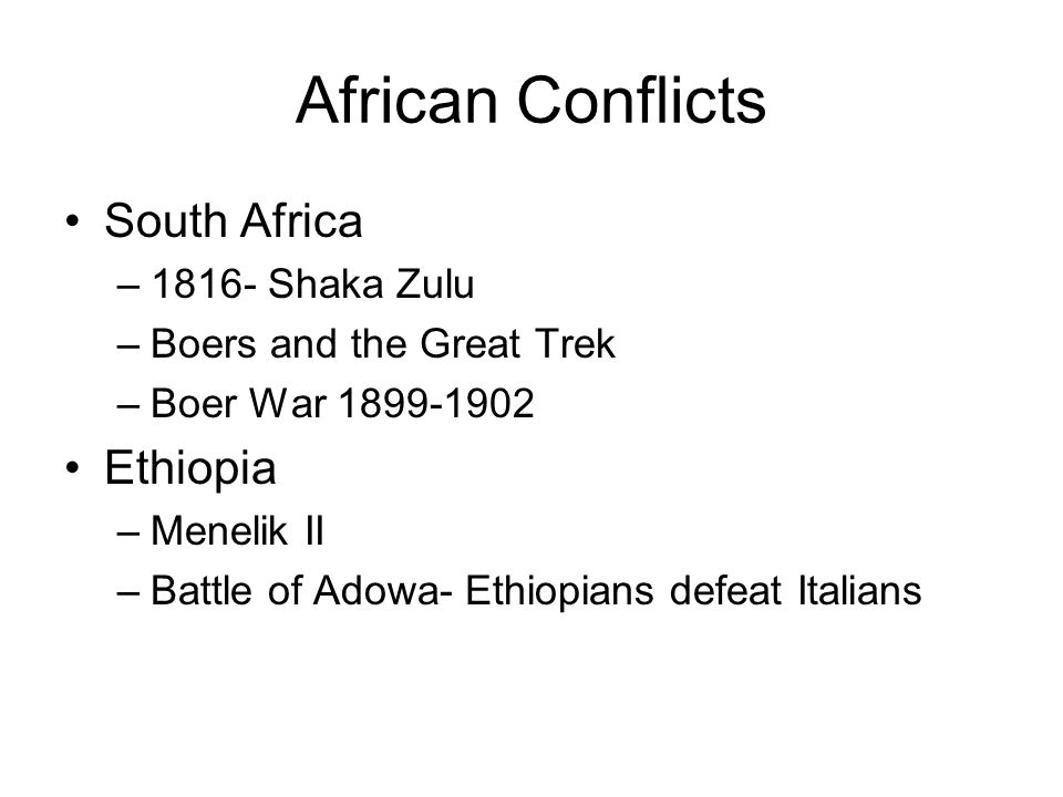 African Conflicts South Africa Ethiopia 1816- Shaka Zulu