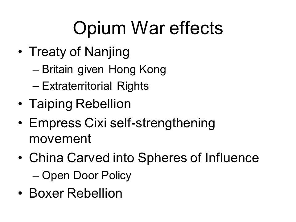 Opium War effects Treaty of Nanjing Taiping Rebellion
