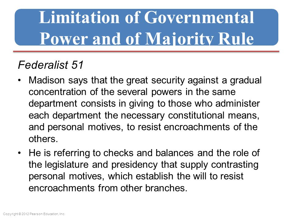 Limitation of Governmental Power and of Majority Rule