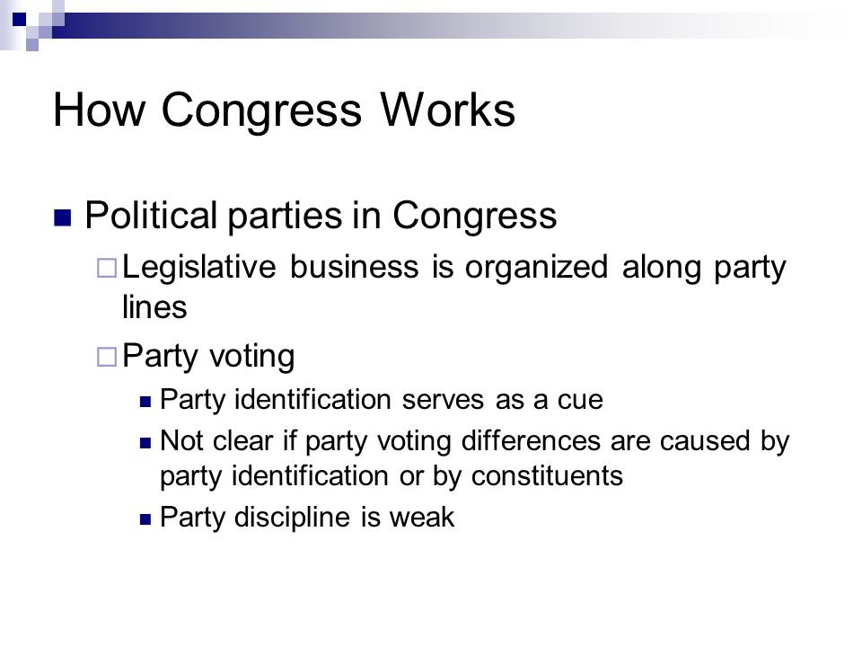 How Congress Works Political parties in Congress