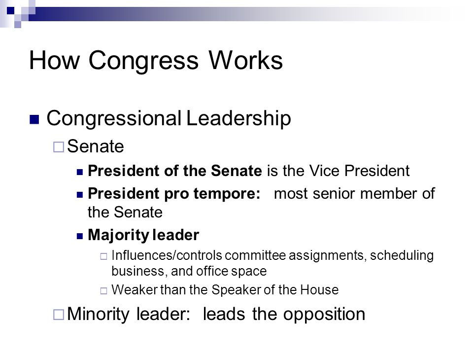 How Congress Works Congressional Leadership Senate