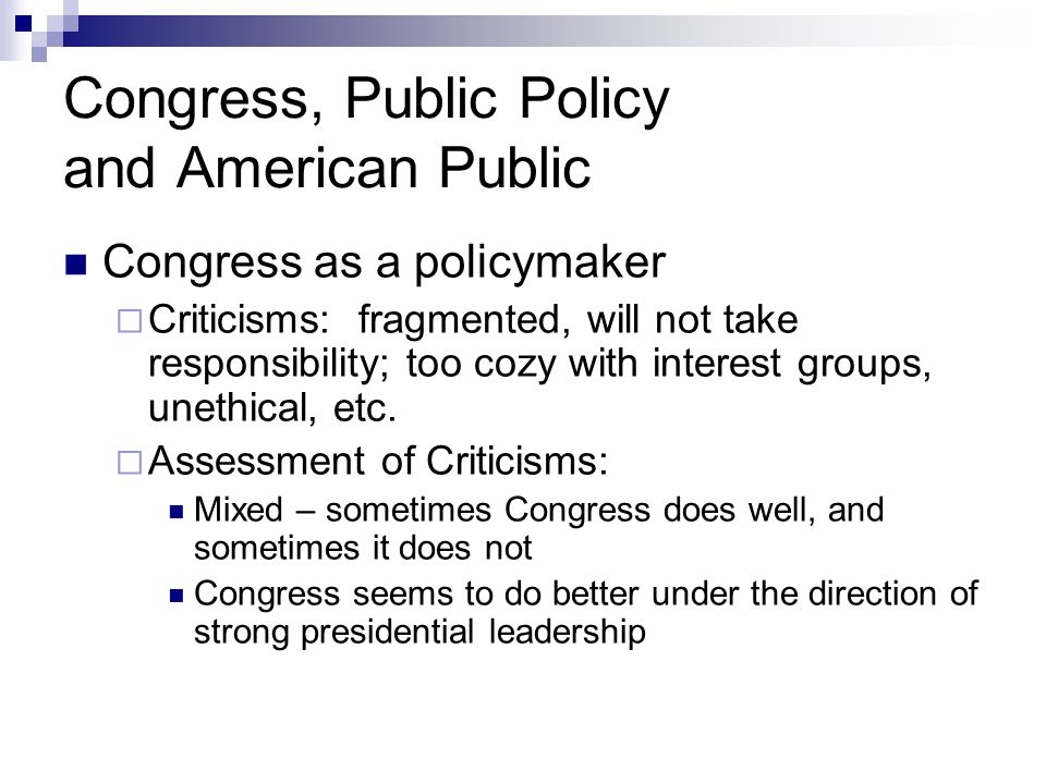 Congress, Public Policy and American Public