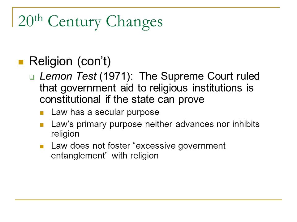 20th Century Changes Religion (con't)