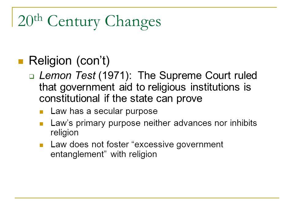 20th Century Changes Religion (con't)