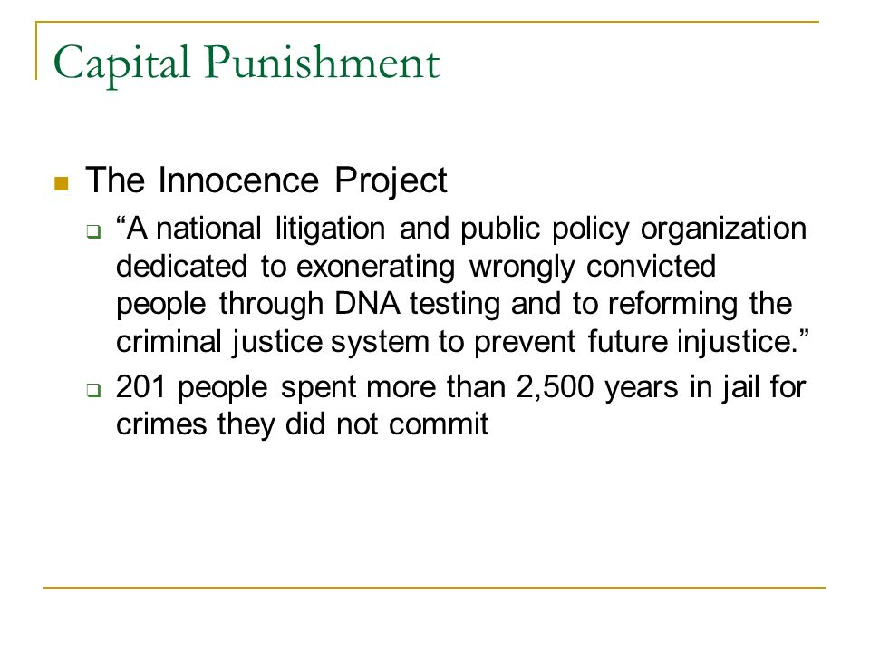 Capital Punishment The Innocence Project