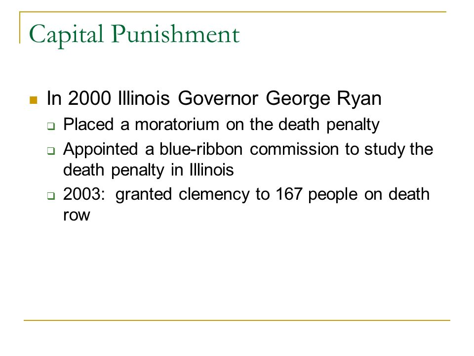 Capital Punishment In 2000 Illinois Governor George Ryan