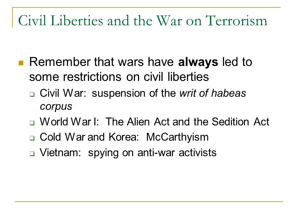 Civil Liberties and the War on Terrorism