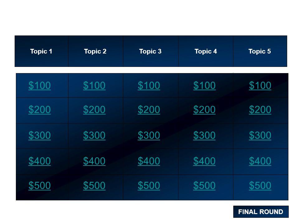 Topic 1 Topic 2. Topic 3. Topic 4. Topic 5. $100. $100. $100. $100. $100. $200. $200. $200.