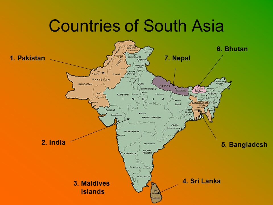 Introduction To South Asia Ppt Video Online Download - South asia political map