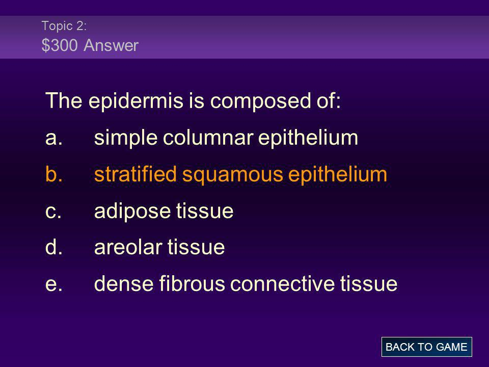 The epidermis is composed of: a. simple columnar epithelium