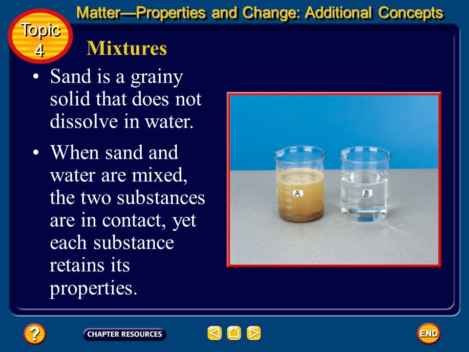 Sand is a grainy solid that does not dissolve in water.