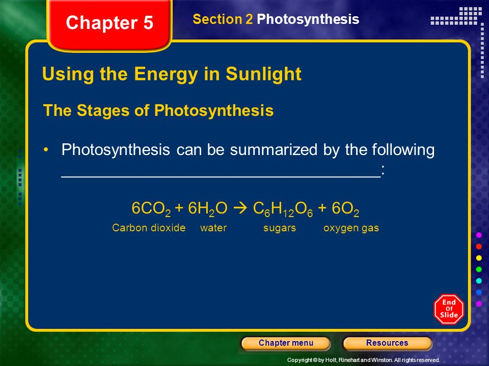 Using the Energy in Sunlight