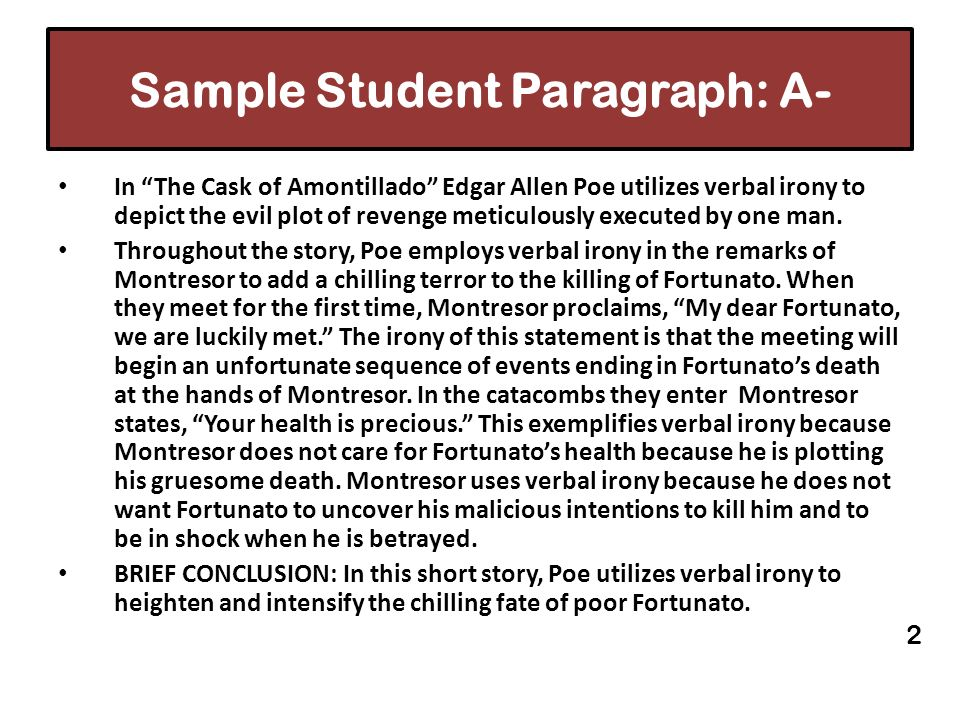 Sample Student Paragraph: A-