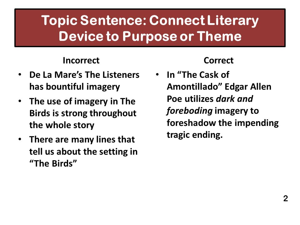 Topic Sentence: Connect Literary Device to Purpose or Theme