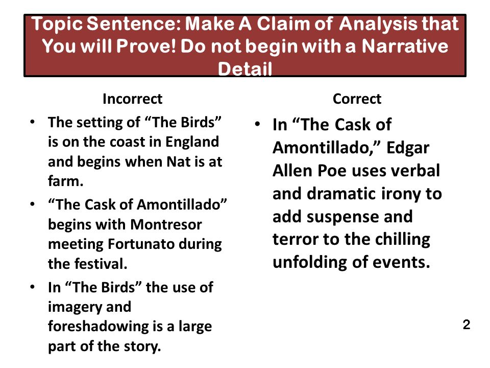 Topic Sentence: Make A Claim of Analysis that You will Prove