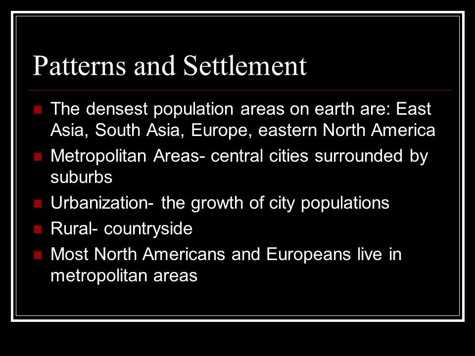 Patterns and Settlement