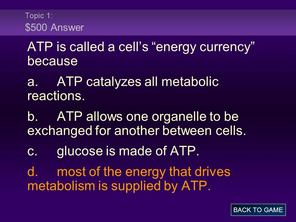 ATP is called a cell's energy currency because