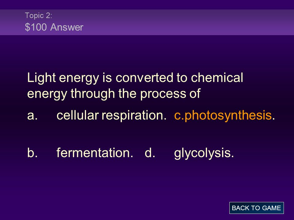Light energy is converted to chemical energy through the process of
