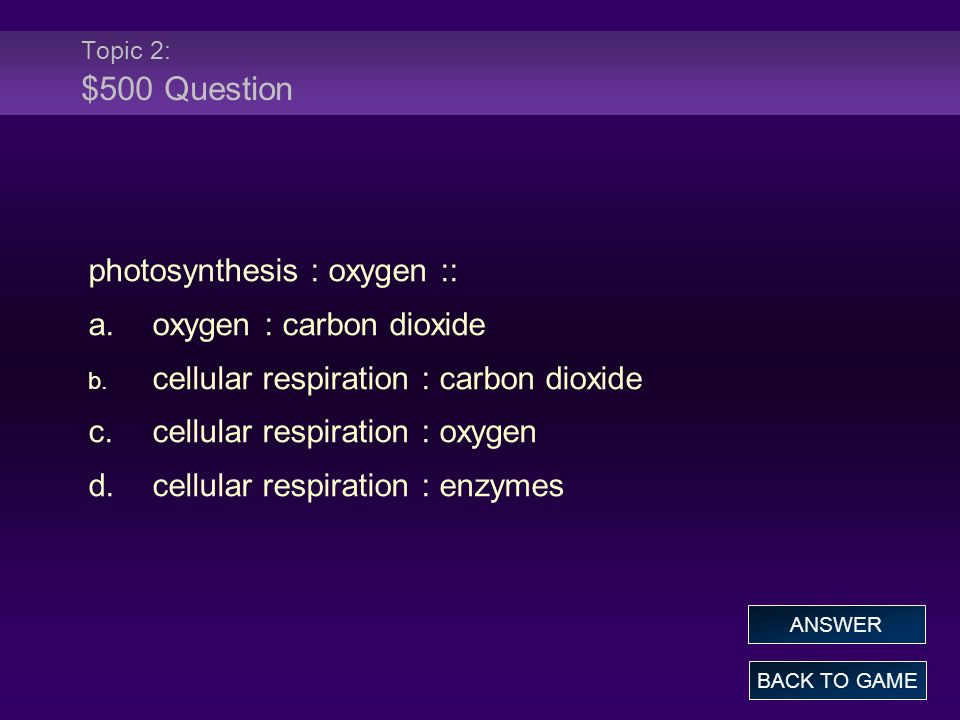 photosynthesis : oxygen :: a. oxygen : carbon dioxide