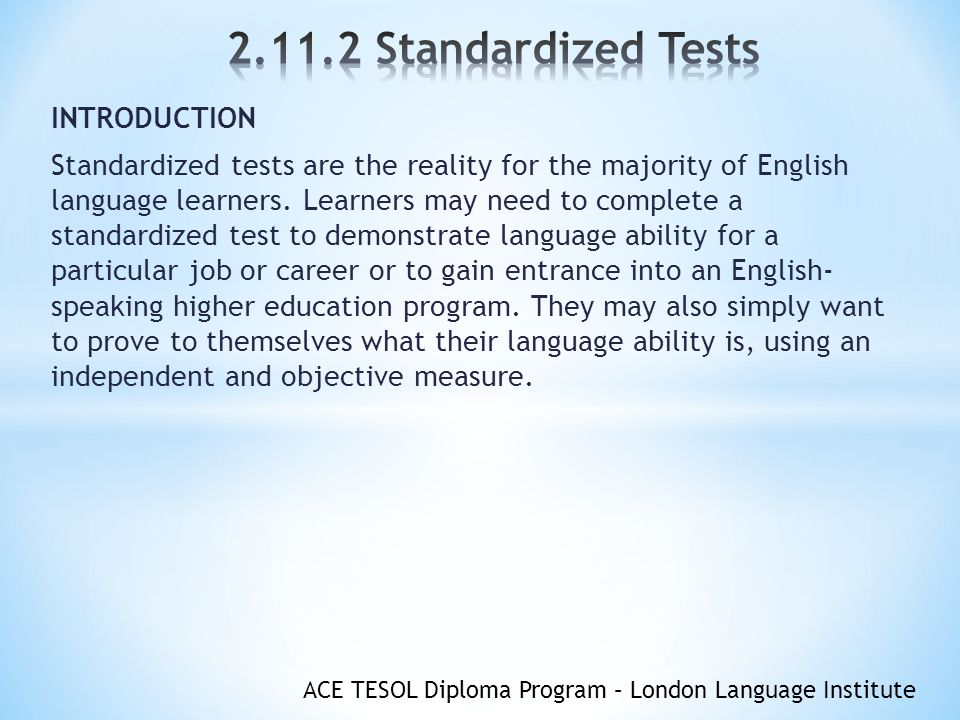 an introduction to the issue of standardized testing Adhere to standardized protocols in admin except where flexibility enhances valid  when differential prediction is an issue,  fairness in testing: introduction.