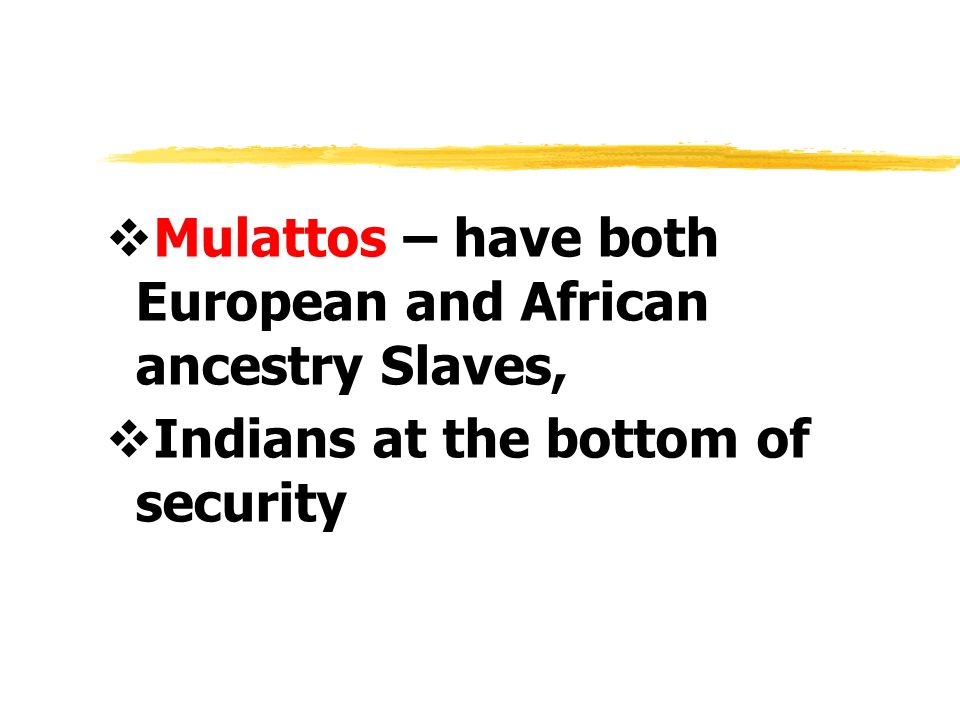 Mulattos – have both European and African ancestry Slaves,