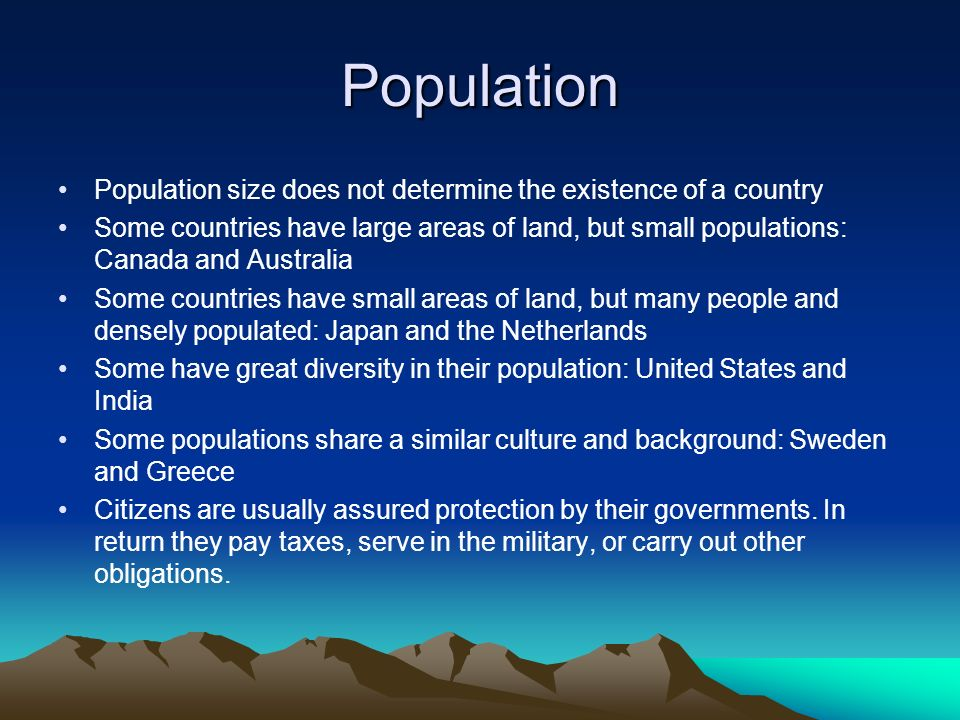Population Population size does not determine the existence of a country.
