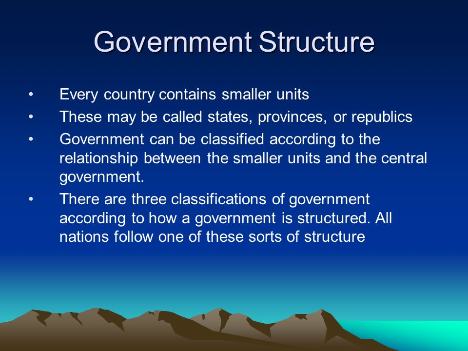 Government Structure Every country contains smaller units