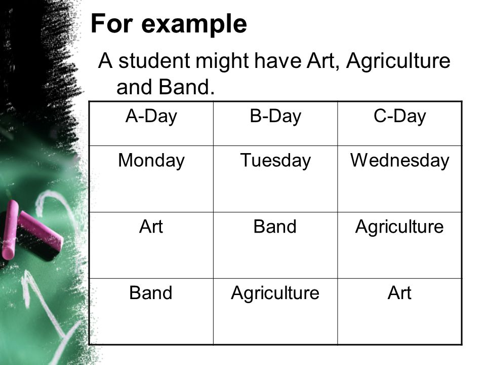 For example A student might have Art, Agriculture and Band. A-Day