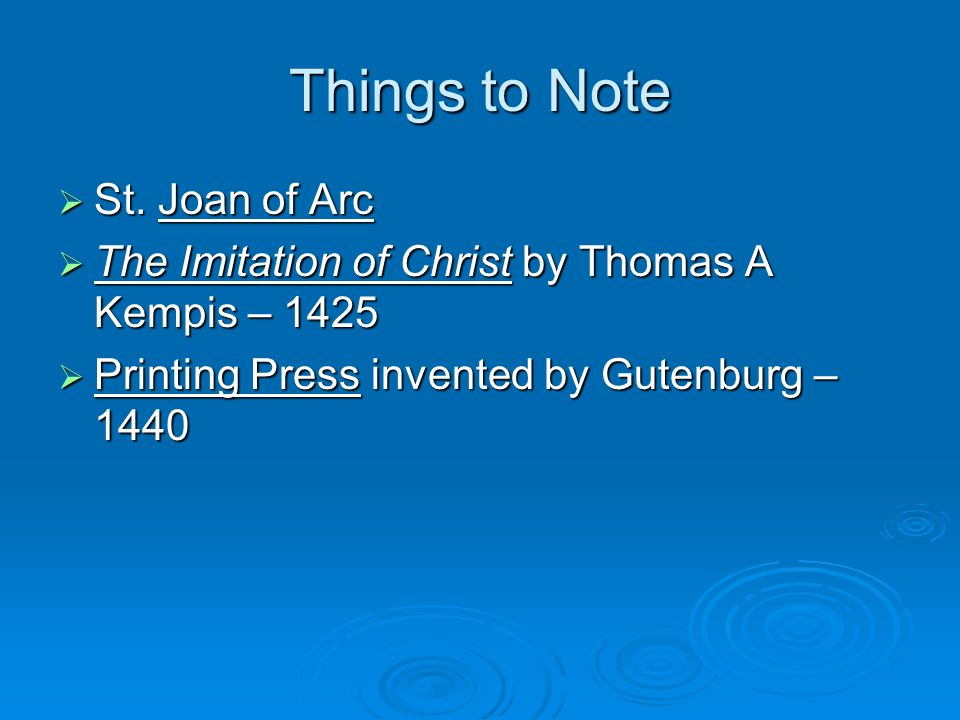 Things to Note St. Joan of Arc