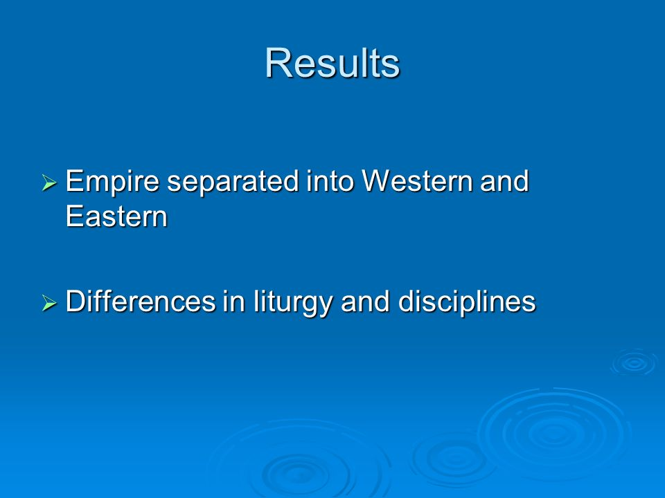 Results Empire separated into Western and Eastern