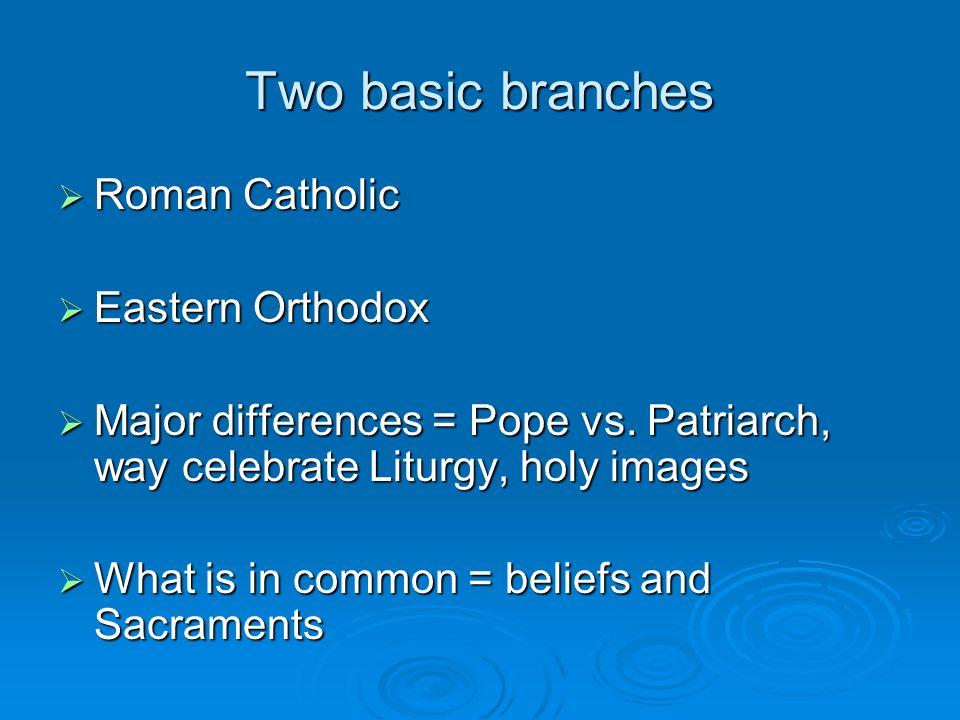 Two basic branches Roman Catholic Eastern Orthodox
