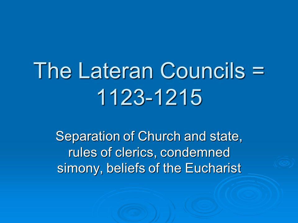 The Lateran Councils = 1123-1215