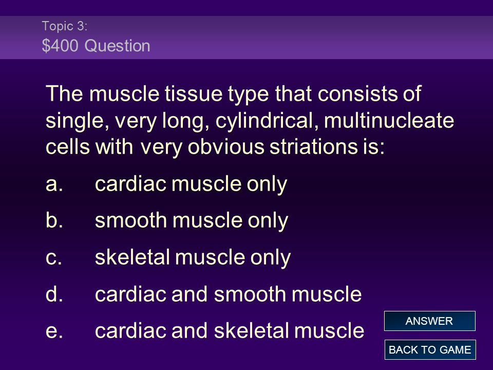 d. cardiac and smooth muscle e. cardiac and skeletal muscle