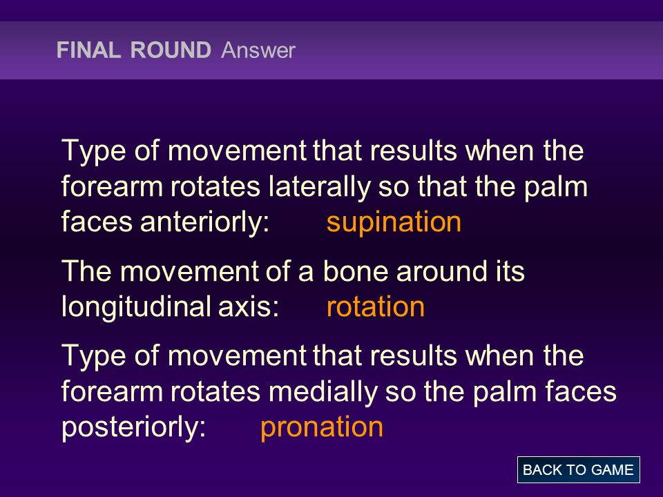 The movement of a bone around its longitudinal axis: rotation