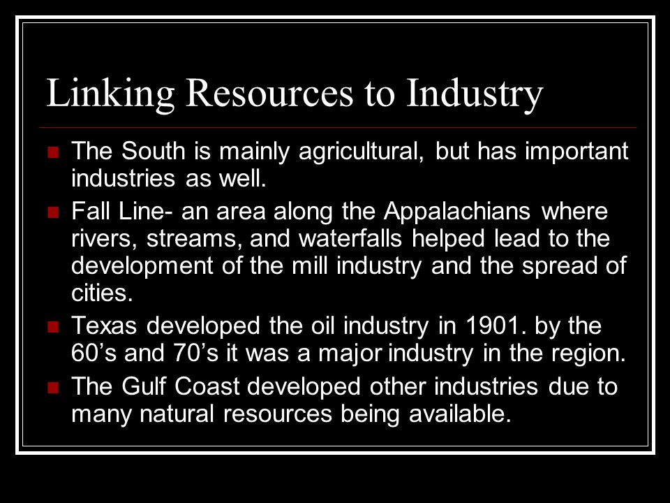 Linking Resources to Industry