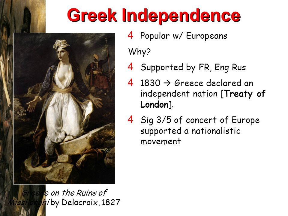 Greece on the Ruins of Missilonghi by Delacroix, 1827