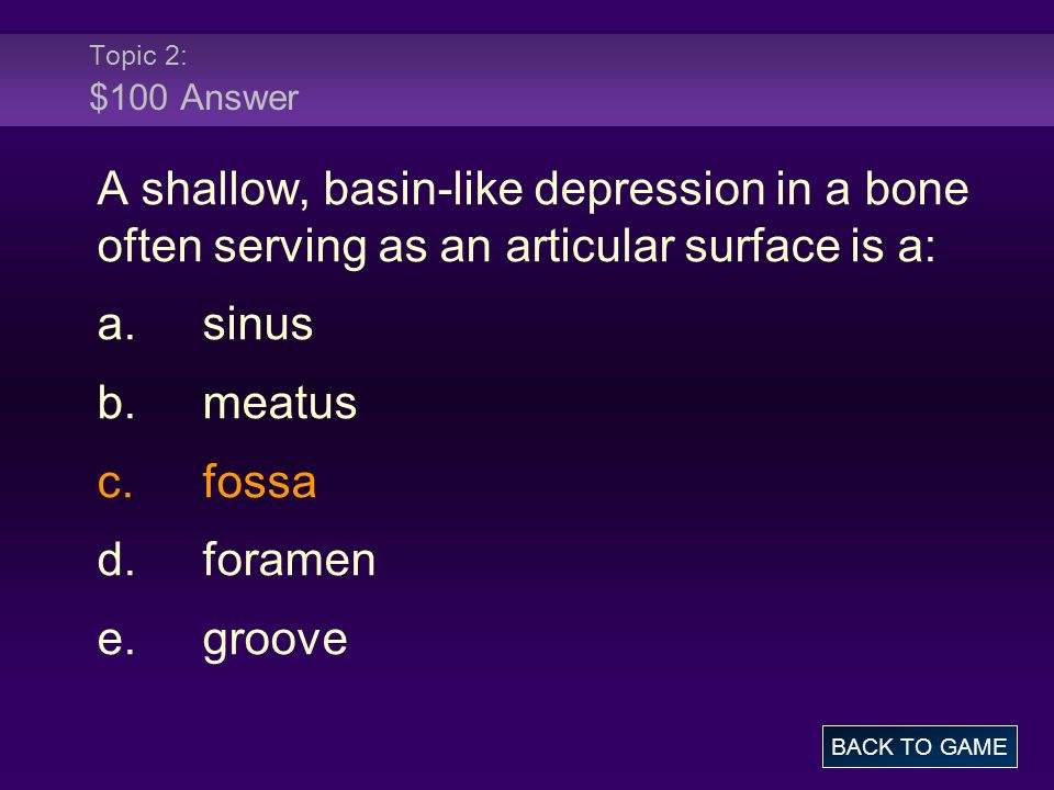 Topic 2: $100 Answer A shallow, basin-like depression in a bone often serving as an articular surface is a: