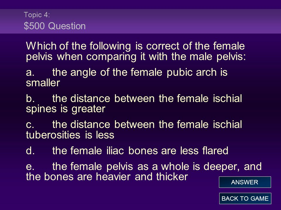 a. the angle of the female pubic arch is smaller