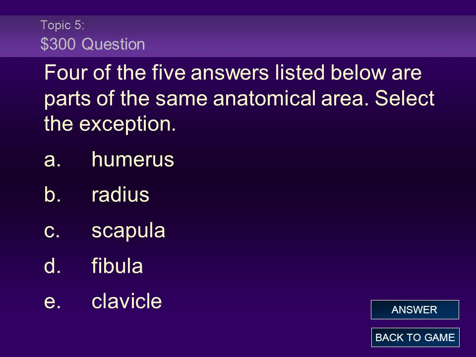 Topic 5: $300 Question Four of the five answers listed below are parts of the same anatomical area. Select the exception.