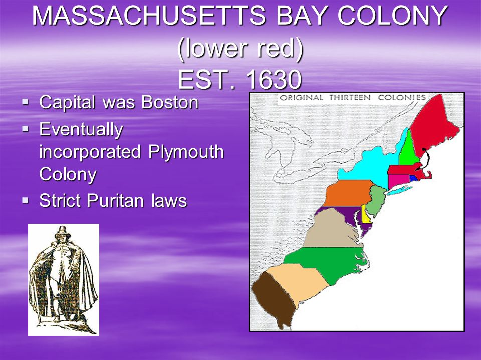 MASSACHUSETTS BAY COLONY (lower red) EST. 1630