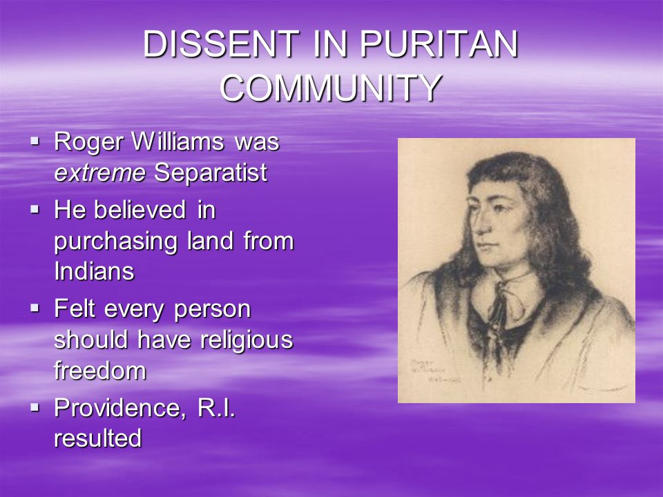 DISSENT IN PURITAN COMMUNITY
