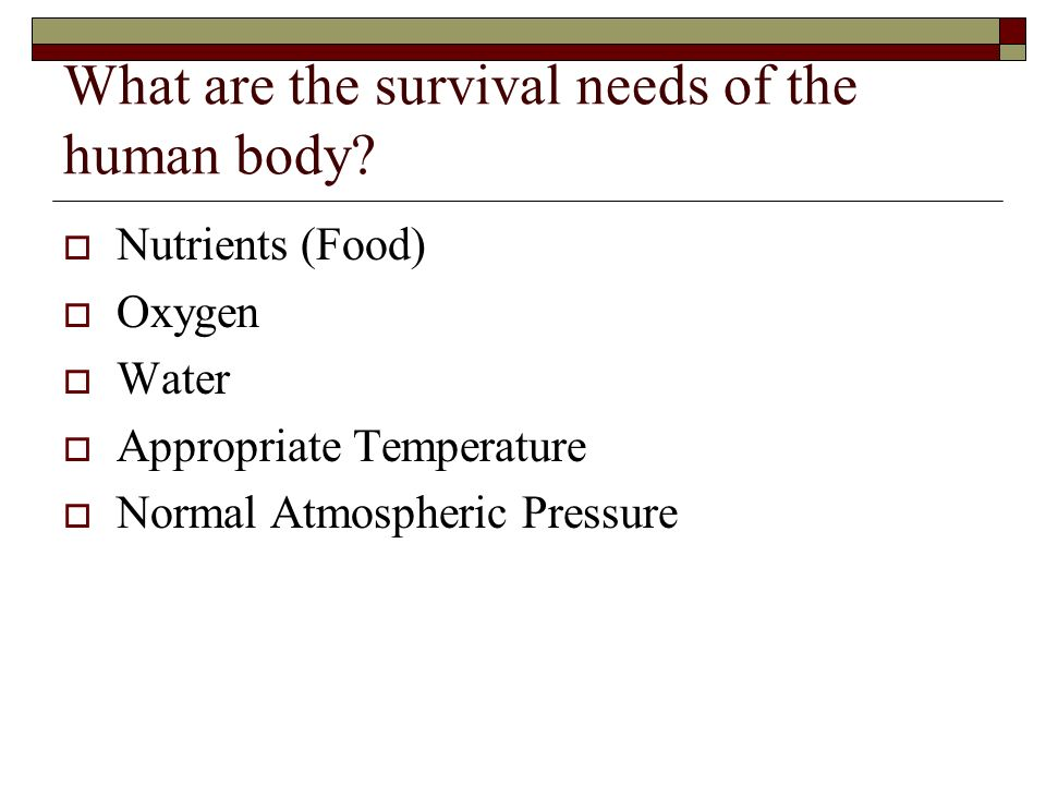 What are the survival needs of the human body