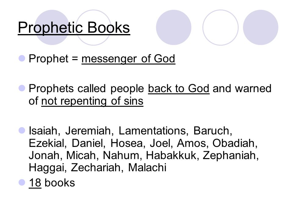 Prophetic Books Prophet = messenger of God